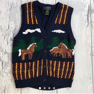 Vintage Knitted Horses Vest women's Xs/S